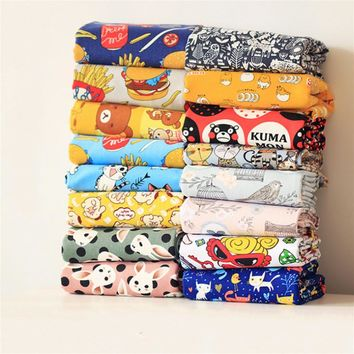 Free shipping 50x145cm patchwork Canvas Sewing fabric cartoon Toy linen fabric Tissue Kids home textile school bag for Sewing