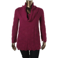 Style & Co. Womens Plus Cable Knit Long Sleeves Pullover Sweater