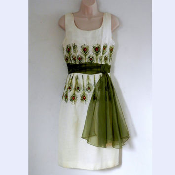 MAD MEN Embroidered Peacock Feather  Linen Dress with Chartreuse Green Sash