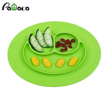 Health Food Grade Silicone Children Dinner Dish Plate Baby Feeding Bowl Slip Heat Resistant Fruit Food Bowl Dinnerware Plate