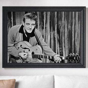 Eddie Cochran Poster Rock n Roll Painting Print Canvas Print Music Poster Canvas Poster Design Wall Art Home Gift Poster Home Rock Poster