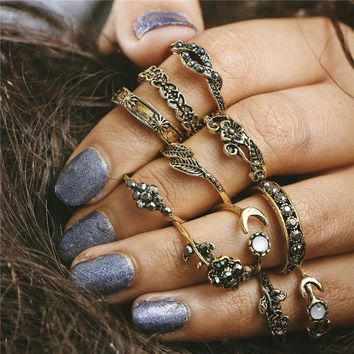 SHUANGR fashion 11pcs Set 2 Color Women & Men Boho Vintage Punk Stone Midi Finger Rings For Bohemian Ring Set Jewelry Anillos