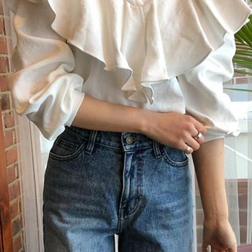 White Ruffle Peplum V-neck Long Sleeve Casual Blouse