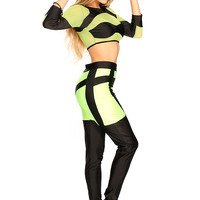 Green Black Mesh Two Tone Cute 2 Piece Crop Outfit