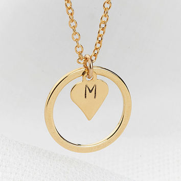 dainty circle necklace charm necklace heart initial necklace karma necklace initial necklace