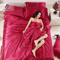 ParkShin Silk Satin Bedding Set Solid Color Bed Linen Wine Red Duvet Cover Set Soft Tencel Flat Sheet 3Pcs or 4Pcs