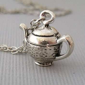 Silver Teapot Necklace, Tea Kettle Necklace, Teapot Charm Necklace, Coffee Pot Charm Necklace