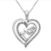 """Sterling Silver Diamond Mom Double Heart Pendant Necklace (1/10 cttw, I-J Color, I2-I3 Clarity), 18"""""""