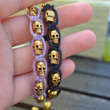 Black Wrap Bracelet with Gold Skulls