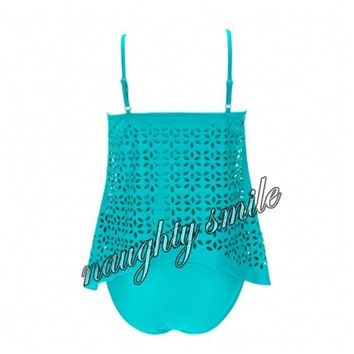 Boldly Turquoise Asymmetrical Layer Sway Tankini Bathing Suits