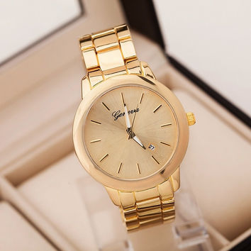 Geneva Simple alloy watch men watch common four-colors women watches wristwatches (With Thanksgiving&Christmas Gift Box)= 1956530564