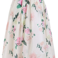 With Zipper Rose Print Skirt