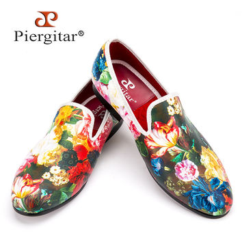 New style flower and leaf pattern printing white men wedding and party men dress shoes Fashion men's flats