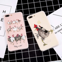 High quality Soft ScrubTPU GEL Cases For iphone 7 7 Plus Cover Luxury Emboss Relief Chicken Paint Protect Funda Back Cover Shell