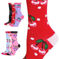 Set of Six Pair-Women's Fashion Designed Crew Sox. Cherries Design.