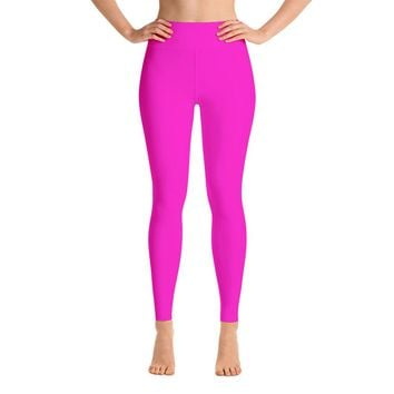 Solid Hot Pink Yoga Leggings