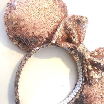 Rose Gold Ears, Sequin Ears, Minnie Ears, Rose Gold Mouse Ears, Sequin Minnie Ears, Minnie Mouse Ears, Mickey Ears, Disney Vacation Ears