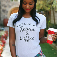 Fueled by Jesus and Coffee tshirt, Jesus and Coffee, Jesus and Coffee tee, Christian clothing, Christian tshirt - Gray