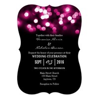 Hot Pink Black Bokeh Lights Wedding Invites