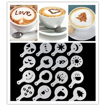 4Pcs/set Coffee Milk Cake Cupcake Stencil Template Mold Coffee Barista Cappuccino Template Strew Pad Duster Spray Tools F0294