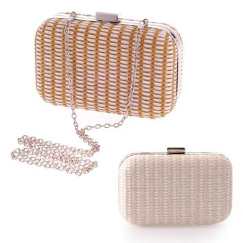 2 Colors New Women's Diamond Party Clutch Upscale Woven Evening Bag Wedding Party Handbag Purse Shoulder Messenger Bag 88  BS88