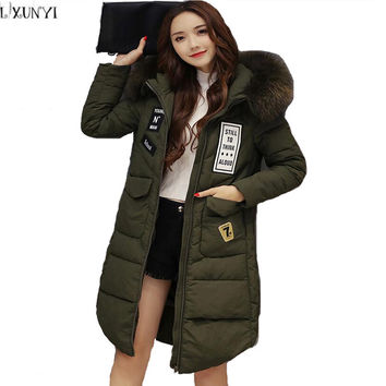 Plus Size Women Long Down jacket Women's Winter Coat Slim Korean Womens Winter jackets and Coats With fur Collar Hood Thickening