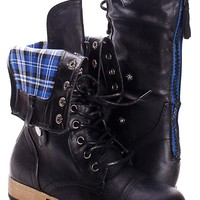 SOLID BLACK FAUX LEATHER LACE UP FOLD OVER COMBAT BOOTS