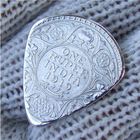 Custom Coin Guitar Pick  Handmade from a 1919 British India Silver Rupee
