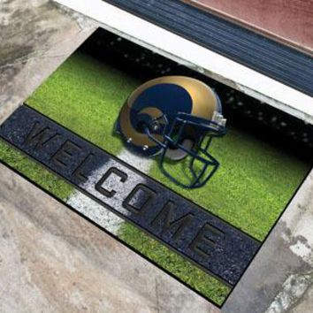 Los Angeles Rams Door Mat 18x30 Welcome Crumb Rubber
