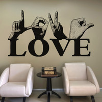 Vinyl Wall Decal Sticker Love Sign Language #5441