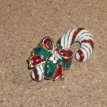 "Vintage Candy Cane w/ Holly & 4 Rhinestones Enameled Brooch 1 3/4"" ~ Circa 1960's"