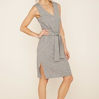 Marled Knit Tie-Waist Dress
