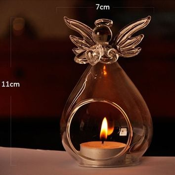 1pc Glass Crystal Angel Hanging Tea Light Candle Holder Candlestick Oil Burner