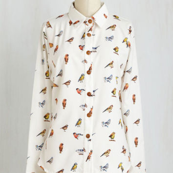 Critters Mid-length Long Sleeve Button Down Bird It All Before Top