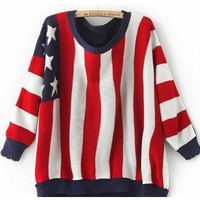 @Free Shipping@ Red Women Stripe Polyamide Sweater One Size YL941475r from Voguegirlgo