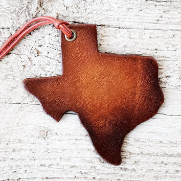 Texas State Leather Luggage Tag