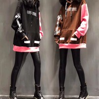 """OFF-WHITE"" Women Personality Fashion Multicolor Letter Pattern Print Hooded Fur Collar Long Sleeve Sweater Tops"