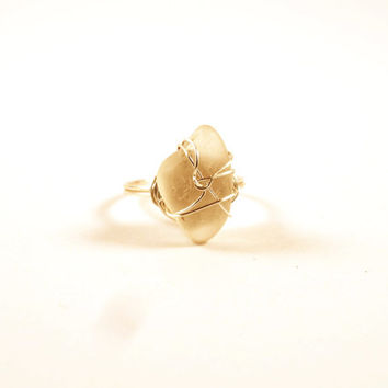 White Sea Glass Sterling Silver Wire Wrapped Ring Size 6 Sea Glass Ring