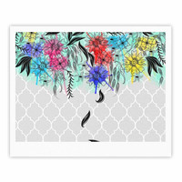 "Famenxt ""Watercolor Spring"" Gray Floral Fine Art Gallery Print"