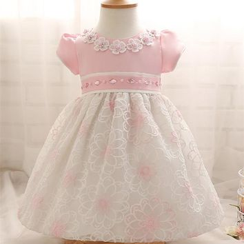 Fashion Christmas Print Flower Dress For Baby With Diamond Big Bow Baby Dress For Formal Wedding Vestidos Infantis 1 Years