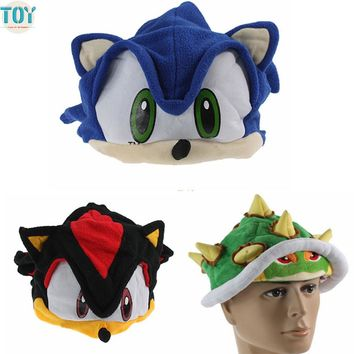 OHMETOY 2PCS SONIC THE HEDGEHOG Cosplay Cap Super Mario Koopa Bowser Hat Chapeau fr Adults Teenagers Anime Costume Birthday Gift