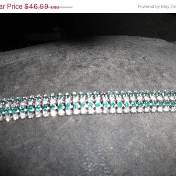 20% Store Wide Sale Castlecliff Green stone and Crystal stone silver bracelet