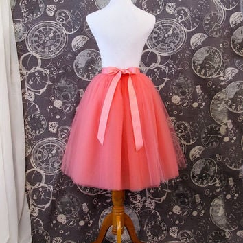 Coral Tulle Skirt - Adult Knee Length Tutu with Ribbon Waist and Ties - Custom Size - Made to Order