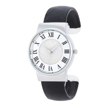 Fayth Classic Black Leather Cuff Watch