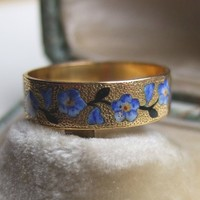 Antique French Victorian Rose Gold Cigar Band Wedding Ring - enamel flowers
