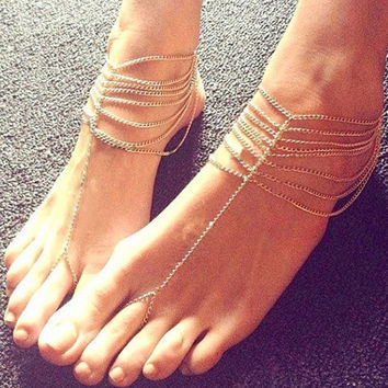 Women's Hot Sale New Fashion Vintage Romantic  Beach Multi Tassel Toe Ring Chain Link Foot Jewelry Anklet Chain Charm Bracelet Ankle Body Jewelery = 5658248513