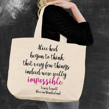 Impossible Alice In Wonderland Tote Bag
