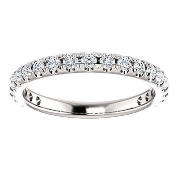 Round Natural Diamond 14K White Gold 3/4 Eternity French Pave Wedding & Anniversary Band
