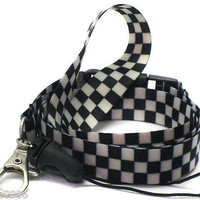 "Black and White Checkered Design 15"" lanyard for ID Holder + Mobile Devices-New!"