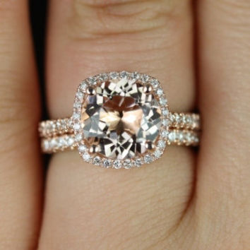 Barra Princess Size 14kt Rose Gold Thin Morganite and Diamond Cushion Halo Wedding Set (Other metals and stone options available)